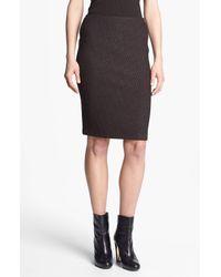 St. John | Brown Tile Knit Pencil Skirt | Lyst
