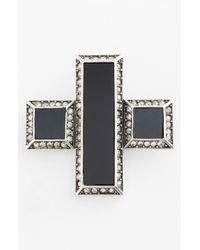St. John | Metallic Glass Crystal Cross Brooch | Lyst