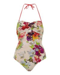 Ted Baker - Pink Marra Twist Floral Swimsuit - Lyst