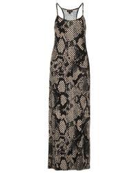 TOPSHOP Gray Snake Strappy Maxi Dress