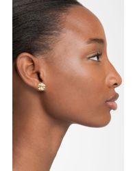 Tory Burch | Metallic Small Logo Stud Earrings | Lyst