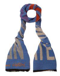 Vivienne Westwood Blue Climate Revolution Wool Scarf for men