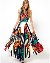 ASOS - Multicolor Stripe Sleeveless Floral Maxi Dress - Lyst