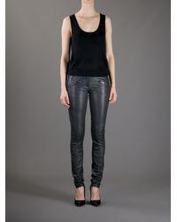 Barbara Bui Green Skinny Leather Trouser