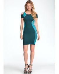 Bebe Blue Peekaboo Colorblock Dress