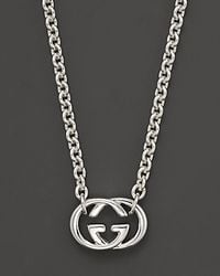 Gucci - Metallic Sterling Silver Britt Necklace 18 - Lyst