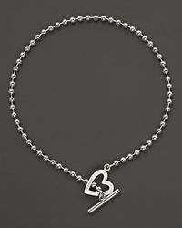 Gucci | Metallic Sterling Silver Toggle Heart Necklace 16 L | Lyst