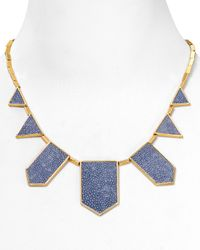 House of Harlow 1960 - Metallic Sapphire Blue Faux Stingray Five Station Necklace 18 - Lyst