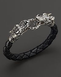 John Hardy | Metallic Men'S Naga Silver Black Woven Leather Dragon Bracelet for Men | Lyst