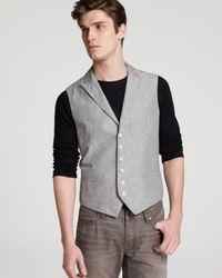 John Varvatos Gray Usa Wire Edged Peak Lapel Vest for men