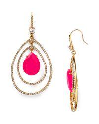 Juicy Couture | Metallic Social Lites Pave Teardrop Orbital Earrings | Lyst