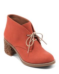 Lucky Brand Red Lace Up Ankle Booties Hale
