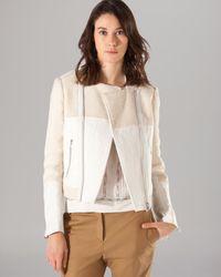 Maje White Moto Jacket Light Leather Combo