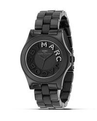 "Marc By Marc Jacobs ""rivera"" Black Plastic Watch With Glitz Logo, 40 Mm"