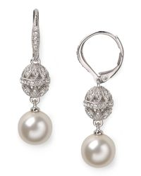 Nadri - White Pearl And Bezel Drop Earrings - Lyst