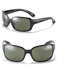 Ray-Ban Black Big Glamour Wrap Polarized Sunglasses
