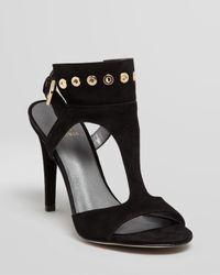 Stuart Weitzman Black Sandals French Cuff High Heel