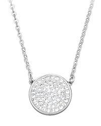 Swarovski Metallic Top Silvertone Crystal Pendant Necklace