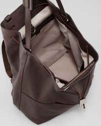 The Row Brown Leather Drawstring Backpack