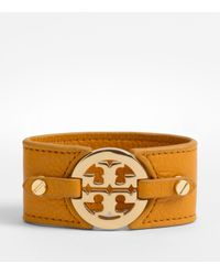 Tory Burch Brown Logo Wide Double Snap Cuff