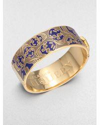Alexander McQueen Metallic Enamel Skull Bracelet