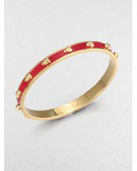 Alexander McQueen | Red 3D Enamel Skull Small Bangle Bracelet/Goldtone | Lyst