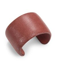 Brunello Cucinelli | Brown Pebbled Leather Cuff Bracelet | Lyst