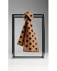 Burberry Brown Cashmere Jacquard Heart Scarf