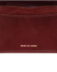 Dries Van Noten Brown Embossed Leather Card Holder for men