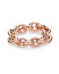 Eddie Borgo - Pink Single Pave Link Bracelet/rose Goldtone - Lyst
