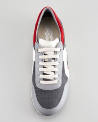 Ferragamo Blue Truman Leather Fabric Sneaker Grayred for men
