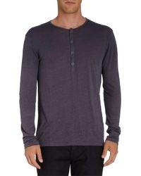 John Varvatos - Purple Henley Tee for Men - Lyst