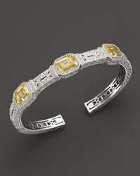 Judith Ripka Metallic Narrow Estate Cuff with Canary Crystal