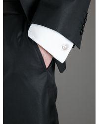 Lanvin Metallic Faux Pearl Cufflinks for men