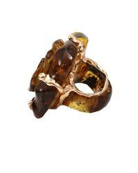 Lucifer Vir Honestus - Metallic Carved Amber Flower Ring - Lyst