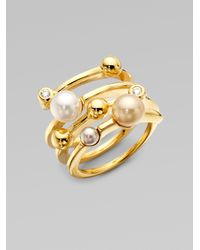 Majorica | Metallic 4mm Multicolor Round Pearl Endless Wrap Ring | Lyst