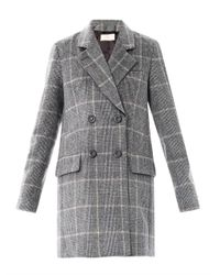 Vanessa Bruno | Gray Prince Of Wales Double Breasted Coat | Lyst