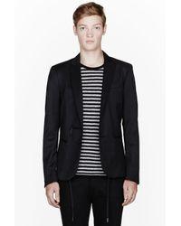 DIESEL Black Charcoal Grey Jittei Drawstring Blazer for men