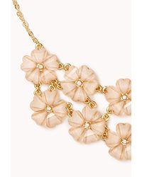 Forever 21 | Pink Shimmering Floral Bib Necklace | Lyst