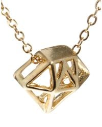 French Connection Metallic Diamond Cage Short Pendant