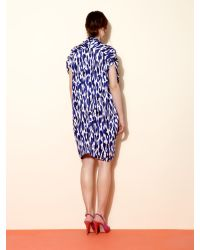 Mary Portas Blue Pleat Neck Dress