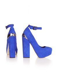 TOPSHOP Blue Stomp Ankle Platforms