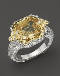Judith Ripka | Metallic Estate Ascher Cut Stone Ring with Canary Crystal | Lyst