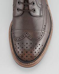 Lanvin Brown Leather Brogue Combat Boot for men