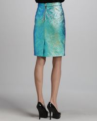 MILLY Blue Iridescent Leather Pencil Skirt