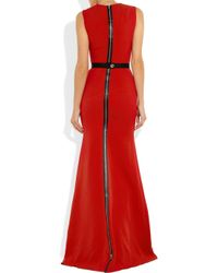 Victoria Beckham | Red Belted Wool and Silkblend Double Crepe Gown | Lyst