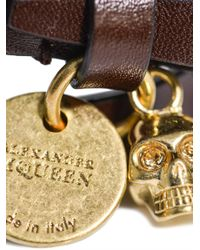 Alexander McQueen - Brown Double Wrap Leather Bracelet for Men - Lyst