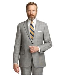 Brooks Brothers - Gray Madison Fit Black And White Plaid With Blue Deco 1818 Suit for Men - Lyst