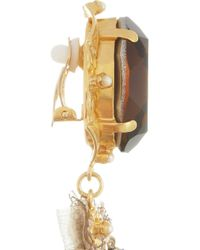 Dolce & Gabbana | Metallic Goldtone Crystal and Faux Pearl Clip Earrings | Lyst