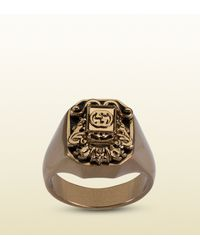 Gucci | Metallic Vintage Crest Ring for Men | Lyst